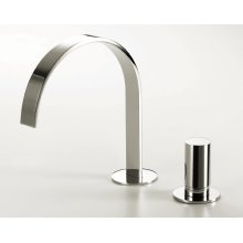 Deck-mount two-hole faucet with an arch spout, knob handle, drain not included.