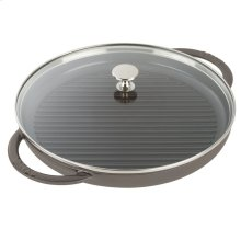 """Staub Cast Iron 10"""" Round Steam Grill, Graphite Grey"""