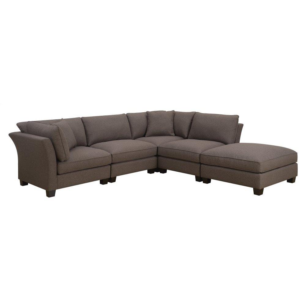 Emerald Home Arlington 5 PC Set-2 Corners-2-armless Chairs-1 Ottoman W/2 Pillows-brown U4172-14-15-22-05-k