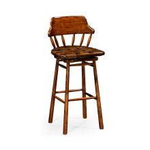 Country style leather bar & counter stools