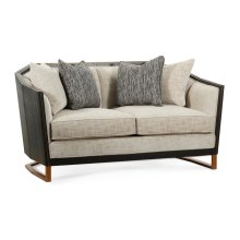 "60"" Casual Transitional Dark Mocha Oak Sofa, Upholstered in Capriccio Porcelain"