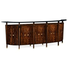Mahogany Semi Circular Five Panel Registration Desk with Fine Inlays