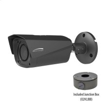 3MP Bullet IP Camera with Junction Box, 2.7-12mm motorized lens, Dark Gray Housing
