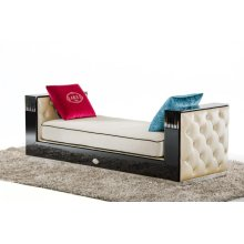 A&X Bellagio Transitional Black Crocodile and Beige Fabric Chaise