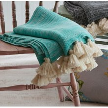 Turquoise Marble Throw with Tassels