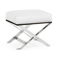Contemporary White Stainless Steel Stool, Upholstered in COM
