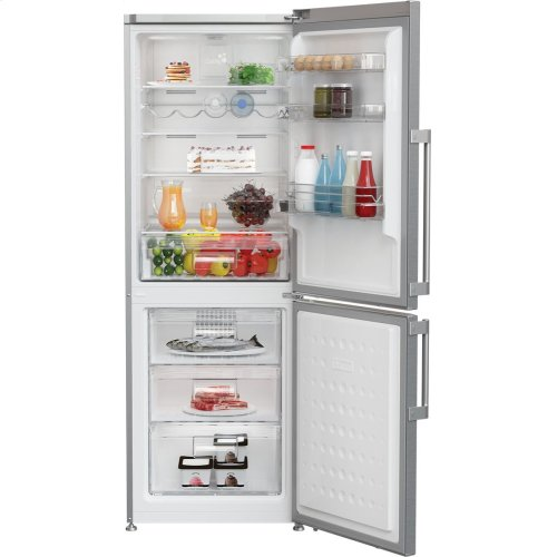 "24"" 12 cuft bottom freezer fridge with full frost free, stainless steel"