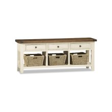 Tuscan Retreat® TV Console With Baskets - Country White With Antique Pine Top