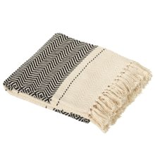 Black & White Chevron Block Throw
