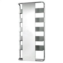 Aeri large, rectangular wall mount aluminum frame with six shelves and a rectangular sliding mirror.