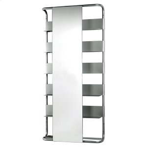 Aeri large, rectangular wall mount aluminum frame with six shelves and a rectangular sliding mirror. Product Image