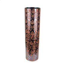 Decorative Ceramic Vase, Gun Metal/orange