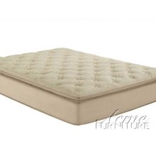 Cicely Beige Suede Queen Size Pillow Top Mattress Set