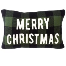 "Green & Black Buffalo Plaid with Applique ""Merry Christmas"" Knit Pillow."