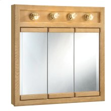 "Richland 4-Light Tri-View Wall Cabinet 30"", Nutmeg Oak #530600"