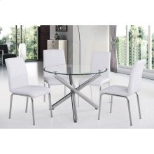 "Solara II 5pc 40"" Dining Set, White"