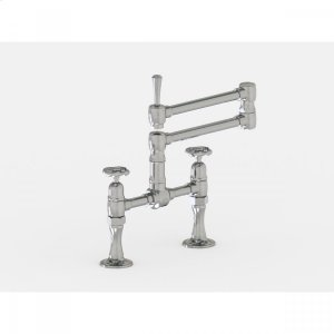 "Brushed Stainless - Deck Mount 17 3/4"" Articulated Dual Swivel Spout with Metal Wheel Product Image"