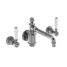 Arcade Wall-mount Basin Faucet Trim with White Lever Handles - Polished Chrome