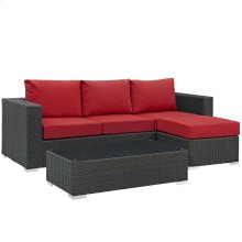 Sojourn 3 Piece Outdoor Patio Sunbrella® Sectional Set in Canvas Red