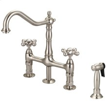 Emral Kitchen Bridge Faucet with Metal Cross Handles - Brushed Nickel