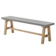 "Boston 59"" Bench ""A"" Base with Concrete Top, Brushed Smoke"