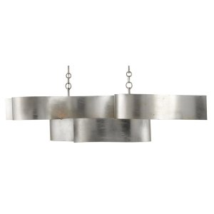 Grand Lotus Silver Oval Chandelier