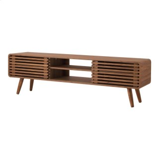 "Wilson 58"" KD Slat Low TV Stand, Walnut (ASSEMBLY REQUIRED)"