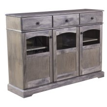 Maple Traditional Credenza With 3 Doors With Glass Windows, 3 Drawers Antique Black Knobs, 1 Fixed Center Shelf and 4 Adjustable Shelves