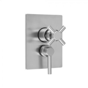 """Antique Brass - Rectangle Plate with Contempo Cross Thermostatic Valve and Contempo Lever Volume Control Trim for 1/2"""" Thermostatic Valve with Integral Volume Control (J-THVC12) Product Image"""