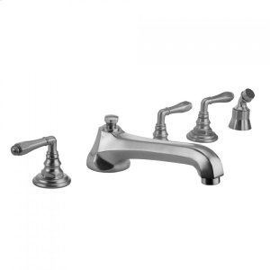 Antique Brass - Westfield Roman Tub Set with Low Spout and Smooth Lever Handles and Angled Handshower Mount Product Image