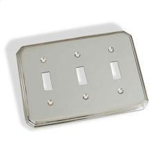 Triple Toggle Square Deco Switch Plate - Polished Chrome