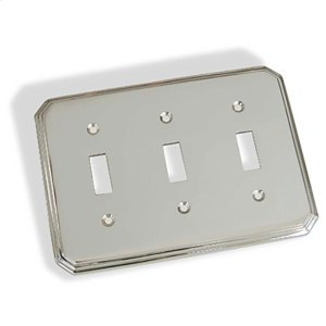 Triple Toggle Square Deco Switch Plate - Polished Chrome Product Image