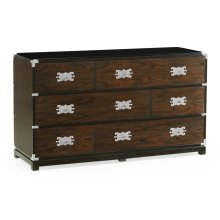 Large Campaign Style Dark Santos Rosewood Chest of Six Drawers