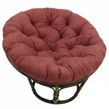 Bali 42-inch Rattan Papasan Chair with Microsuede Fabric Cushion - Walnut/Red Wine