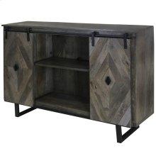 Wesley  58in X 16in X 39in  Sliding Barn Door TV & Media Cabinet Made of Solid Mango Wood in a Sla