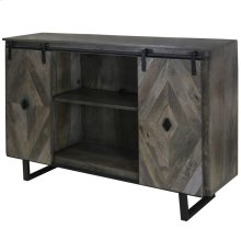 Wesley  58in X 16in X 39in  Sliding Barn Door TV & Media Cabinet Made of Solid Mango Wood in a Sla