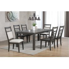 DLU-EL9282-4C100-2C90-7PC  7 Piece Dining Set with Upholstered End Chairs  Gray