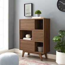 Render Three-Tier Display Storage Cabinet Stand in Walnut