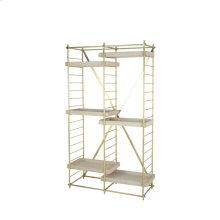 "Gold Iron 69"" Etagere W/woode N Shelves, Kd"