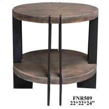 Bengal Manor Iron and Acacia Wood Round End Table