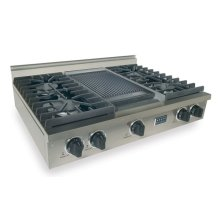 "36"" Gas Cooktop, Sealed Burners, Stainless Steel"