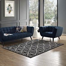 Frame Transitional Moroccan Trellis 8x10 Area Rug in Black and White