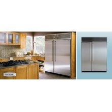 """60"""" Refrigerator Freezer - 60"""" Marvel Side-by-Side Combination Refrigerator Freezer - 24"""" and 36"""" Top Freezer Units Side -by-Side White Interior with Stainless Steel Doors"""