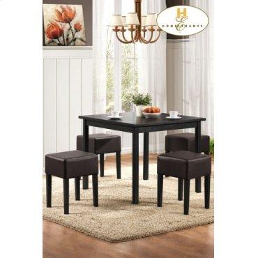 5-Piece Pack Dinette Set Table: 35.5 x 35.55 x 29.5H Stool: 14 x 14 x 19H