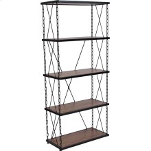 "Vernon Hills Collection 4 Shelf 57""H Chain Accent Metal Frame Bookcase in Antique Wood Grain Finish"