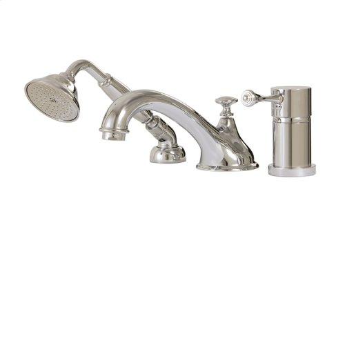 3-piece deckmount tub filler with handshower