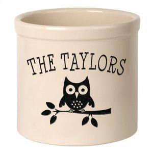 Personalized Owl 2 Gallon Stoneware Crock - Black Engraving / Bristol Crock Product Image