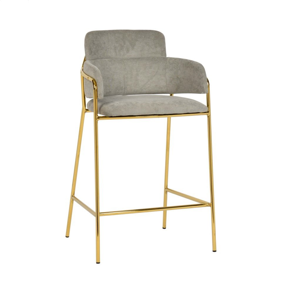 Karl Grey Linen Counter Stool (Set of 2)