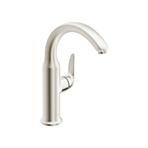 Style one-hole side-lever basin mixer, brushed nickel Product Image