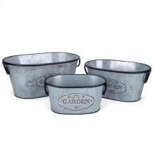 Marin Galvanized Oval Planters - Set of 3